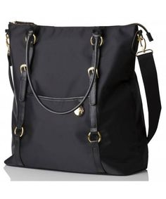 Sophisticated, luxury microfiber and leather trim designer changing bag.  Sleek and stylish tote with gold buckles and details, perfect for Mums on the move.