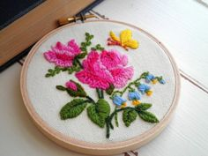 Embroidered Rose Floral Hoop Art / Wall Art by sayhellotoday.etsy.com #roses #gift