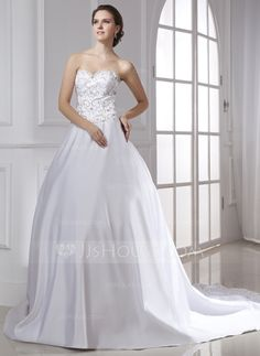 Ball-Gown Sweetheart Chapel Train Satin Wedding Dress With Embroidered (002015475) - JJsHouse