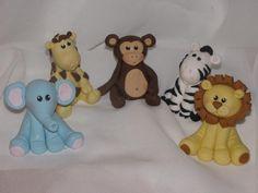 Fondant jungle animals cake toppers by DreamDayShoppe on Etsy, $35.00