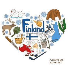 Colorful sketch collection of Finland symbols. Heart shape concept. Travel background Vector