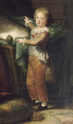 Dauphin Louis Joseph Xavier of France, second child and first son of King Louis XVI and Queen Marie Antoinette, 1787 Oil on canvas, Versailles.  Here, little Louis Josephin points to the empty cradle, indicating the recent death of his younger sister, Sophie Hélène Béatrice de France.