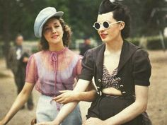A rare color photograph of two Parisian women from 1930