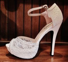 "These sexy shoes are all the rage. 5"" heels and adorned with LACE and silver rhinestones! Only at Rsvp Prom and Pageant"