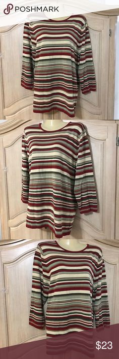 Designer Allison Daley sweater Sweater with stripes in different colors long sleeves and and round neckline size 20. 60% cotton. 40% acrylic allison daley Sweaters