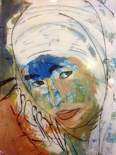 Who Am I? Great Art project idea - ink on acetate over an expressive acrylic painting.