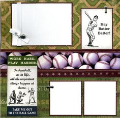 Premade Baseball Scrapbook Page - Hey Batter Batter. Add photo and frame for unique wall art! Susan's Scrapbook Shack via etsy.