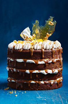 Sticky Date Celebration Cake If you want to bake a decadent sticky date cake, look no further. And it has a divine caramel sauce too! Sticky Date Cake, Cake Recipes, Dessert Recipes, Light Cakes, Classic Cake, Cupcakes, Food Cakes, Cake Creations, Celebration Cakes