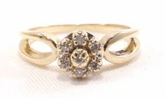 10k Solid Gold Diamond Ring Flower Design Vintage 1960s Unique Band Can B Size e