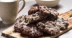 Soft triple chocolate cookies by Greek chef Akis Petretzikis. A quick, easy recipe for delicious, soft cookies with three types of chocolate for kids and adults! Greek Sweets, Greek Desserts, Greek Recipes, Raw Food Recipes, Cookie Recipes, Triple Chocolate Cookies, Melting Chocolate, Soft Cookie Recipe, Delicious Desserts