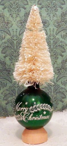 "Vintage Shiny Brite Green ""Merry Christmas"" Bottle Brush Tree Glass Ornament"