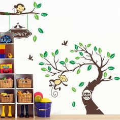 * funny monkeys playing on trees carton animal owl wall stickers for kids room removable pvc wall sticker Art poster wallpaper #Affiliate