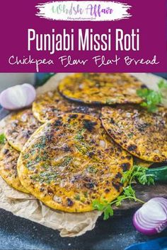 Missi Roti is Chickpea flour flat bread which is a Punjabi speciality and is mostly made during winters in tandoor or clay oven. It is slathered with a good dose of desi ghee before serving and goes well with Indian curries. Here is how to make Missi Roti Chickpea Flour Recipes, Millet Recipes, Veg Recipes, Chickpea Flour Bread, Jain Recipes, Recipies, Roti Recipe Indian, Indian Bread Recipes, Millet Recipe Indian