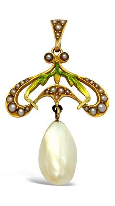 An Art Nouveau Pearl, Enamel and Gold Pendant. Suspending a pearl measuring 13.8 mm by 8.2 mm from a dainty openwork surmount with whiplash tendrils and foliate motifs embellished by green, orange and yellow enamel and split-pearls, mounted in 14k gold. #ArtNouveau