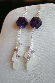 White Seaglass with Amethyst wire earrings by SouthernUtopia, $35.00