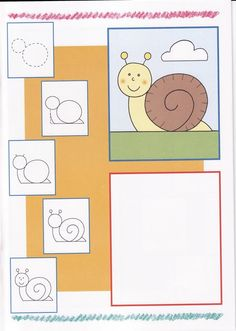 Easy to draw - snail Drawing Lessons For Kids, Art Lessons, Directed Drawing, Inspiration For Kids, Step By Step Drawing, Business For Kids, Learn To Draw, Art Sketchbook, Easy Drawings