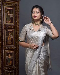 Never underestimate a silver hue swetha redefining silk saree style with this gorgeous drape from sarees and… Saree Blouse Neck Designs, Stylish Blouse Design, Fancy Blouse Designs, Bridal Blouse Designs, Collar Designs, Blouse For Silk Saree, Pattern Blouses For Sarees, Latest Blouse Designs, Seda Sari