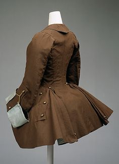 Riding Habit, ca. 1760-75. British. The pictured jacket is made of silk and goat hair. It was originally made for women when they were riding a horse (source of the name Riding Habit). In England the jacket was called a Riding Habit and the French adopted the same style jacket but called it a Redingote.   The Metropolitan Museum of Art