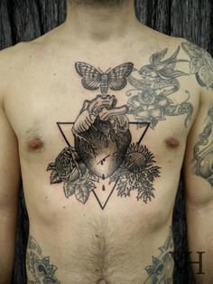Modern. Trend. Tattoo. Ink. Dark. Black. Simple. Clean. Collage. Mix. Heart. Nature. Flowers. Butterfly. Doves. Triangle. Chest & Arms.