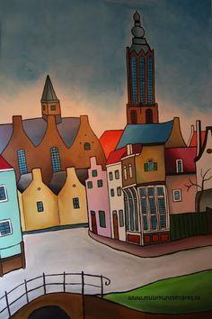 Muuschildering van stadsgezicht Amersfoort. Gemaakt door de Muurkunstenares. Henrike_J