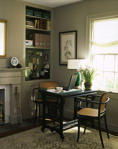 built ins inspire clean and non intrusive look of the home office in the living space. Cindy Binger, Realtor, NJ