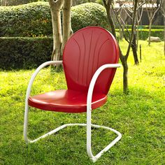 Griffith Metal Chair In Red Finish Crosley Furniture Retro Patio Chairs. Metal Outdoor Chairs, Patio Rocking Chairs, Lawn Chairs, Outdoor Dining Chairs, Dining Arm Chair, Metal Chairs, Outdoor Lounge, Outdoor Living, Outdoor Decor