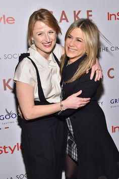 Actresses Mamie Gummer (L) and Jennifer Aniston attend the 'Cake' screening hosted by The Cinema Society & Instyle at Tribeca Grand Hotel on November 16, 2014 in New York City.