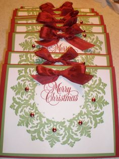 Stampin Up Medallion Christmas Wreath Card Kit 6 Cards