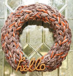 Craft It - An Arm Knitted Fall Wreath. crafts, diy, how-to, knitting, yarn, fall decor.