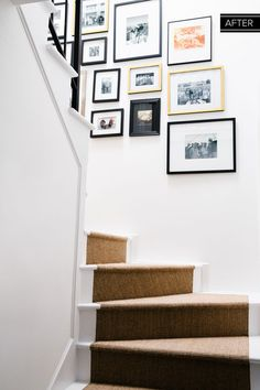 A Gallery Wall Of Small Artworks Leads The Way Up The Refinished Stairwell.