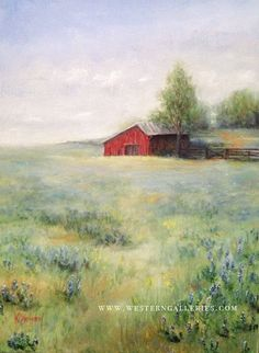 Original oil on canvas painting old red Barn by WesternGalleries