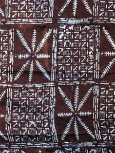 Africa | Adire Eleko; Cotton damask fabric cassava starch resist dyed with natural indigo | Artist: Gasali Adeyemo ~ Yoruba people, Nigeria | Partial view shown