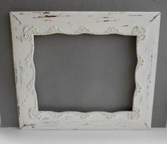 DISTRESSED Picture Frame - Large Ornate Antique Wood - Shabby Chic - Cottage White - Distressed Finish - French Farmhouse Wedding Portrait