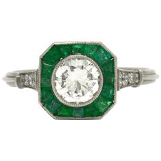 For Sale on - A captivating Art Deco Style diamond emerald engagement ring. The revivalist design, so sleek and geometric is centered by carat diamond solitaire Deco Engagement Ring, Antique Engagement Rings, Halo Diamond Engagement Ring, Cushion Diamond, Art Deco Diamond, Art Deco Fashion, Thing 1, Jewelry Rings, Emerald