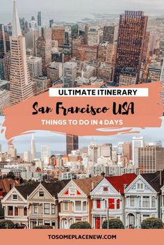 4 days in San Francisco Itinerary San Francisco travel guide and San Francisco itinerary 4 days for first time visitors. Explore the city's iconic landmarks like the Golden Gate Bridge, Alcatraz, Fisherman's Wharf, take a day trip from San Francisco to Na Usa Travel Guide, Travel Usa, Travel Guides, Travel Tips, Travel Destinations, Travel Info, Canada Travel, Travel Goals, San Francisco Travel Guide