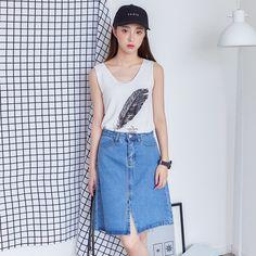 Korean fashion split high waist denim skirt