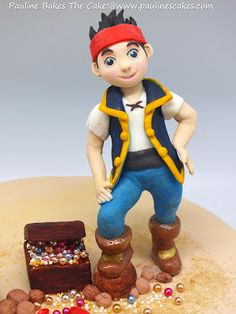 "PAULINE BAKES THE CAKE!: Jamie's ""Jake The Pirate"" Treasure Island Cake & Favorite Cartoon Character Cupcakes!"