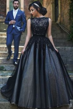 Black Ball Gown,Lace Bodice Prom Dress,Custom Made Evening Dress,,Sexy prom dress,Glamorous prom dresss