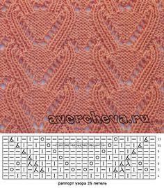 узор спицами 573 | каталог вязаных спицами узоров