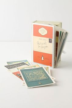 """Cover Story Postcards $25.00    DETAILS  100 timeless titles from Penguin's distinguished collection of classic paperbacks are turned into vintage-inspired correspondance cards.        Set of 100 postcards      Cardboard, cardstock      6.75""""H, 4.5""""W, 2.5""""D      Imported"""
