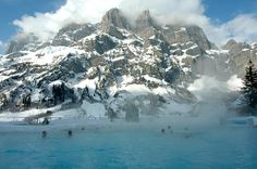 Natural Hot Spring in the Swiss Alps. Gosh, wouldn't it be nice!
