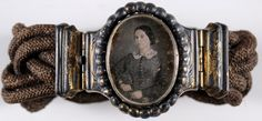 mourning bracelet of woven hair with woman's oval portrait, dates from between 1850-55.