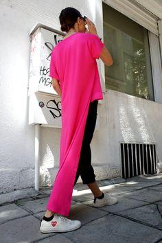 Pink Asymmetrical Top / Long  Blouse / Asymmetric Tunic Top