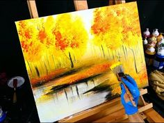 Fall season landscape painting – yellow, red, orange autumn leaves, trees and reflective lake - YouTube