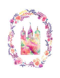Salt Lake City, Utah LDS Temple floral watercolor