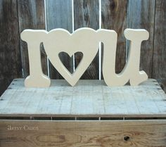 Unfinished Wood I (HEART) U Letters Decor Valentine's Day Love Wedding Anniversary Sweetheart on Etsy, $14.99