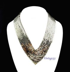 Mesh Bib Necklace Silver tone by Vintage55 on Etsy