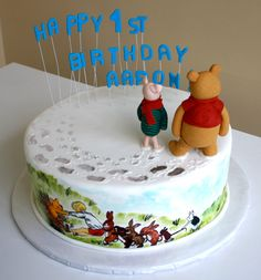 Winnie the Pooh cake - Foot prints and hand painting... OMG This is so cute!!!