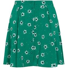 Green Pansy Print Button Skater Skirt ($11) ❤ liked on Polyvore featuring skirts, green circle skirt, button up skirt, flared skirt, button down skirt and pleated skirt