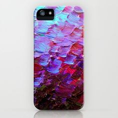 MERMAID SCALES Deep Violet Purple Red Turquoise Ombre Art